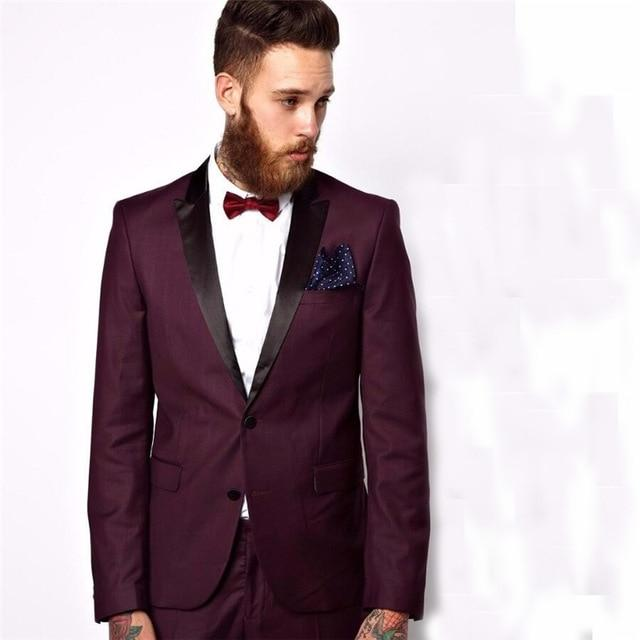 Groomsmen Peaked Black Lapel Groom Tuxedos Burgundy Mens Suit