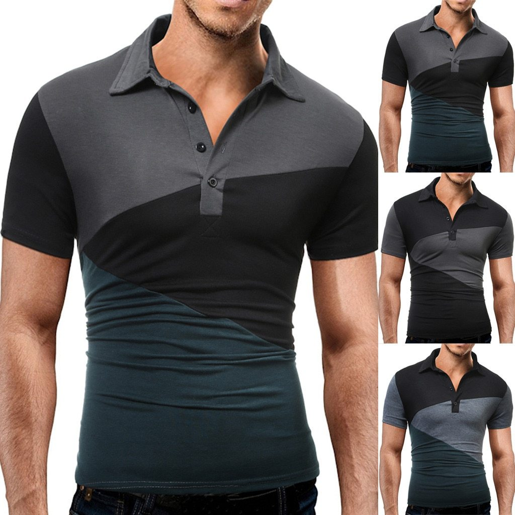 Men's Splicing Turn-down Collar Pullover weatshirts