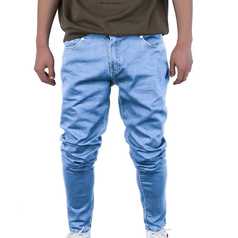 Oeak Men's Solid Color Jeans 2019 New Shinny Denim Pencil Pants Fashion Casual Straight Stretch Skinny Trousers