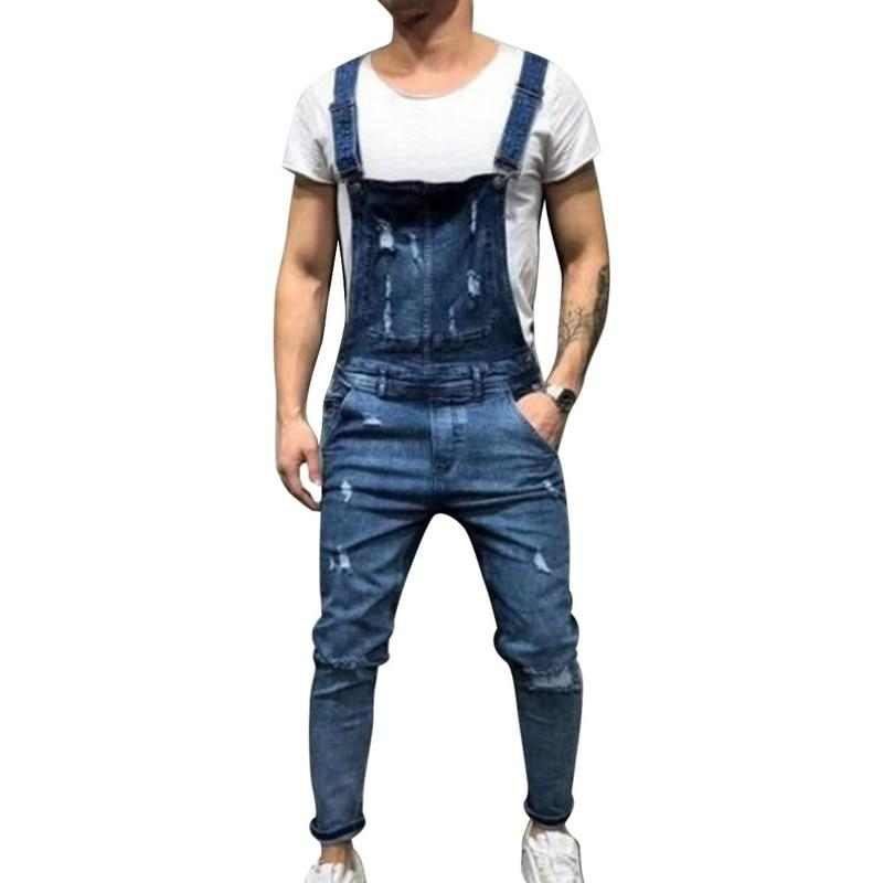 Sping Men's Denim Bib Overalls Adjustable Straps Fashion Ripped Jeans
