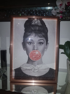 Audrey Bubblegum Rose Gold Faux Glitter Art Print