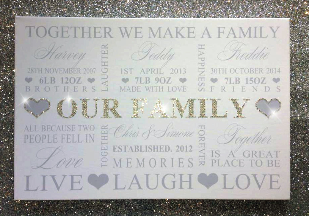 Personalised Family Typography Canvas With Diamond Dust & Crystals