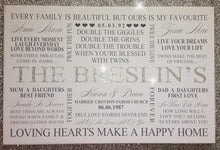 Load image into Gallery viewer, Personalised Family Typography Canvas With Diamond Dust & Crystals