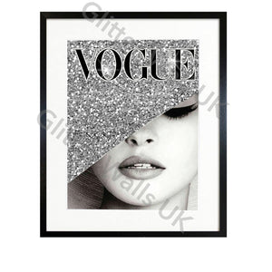 Vogue Silver Faux Glitter Art Print