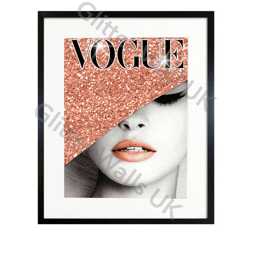 Vogue Rose Gold Faux Glitter Art Print