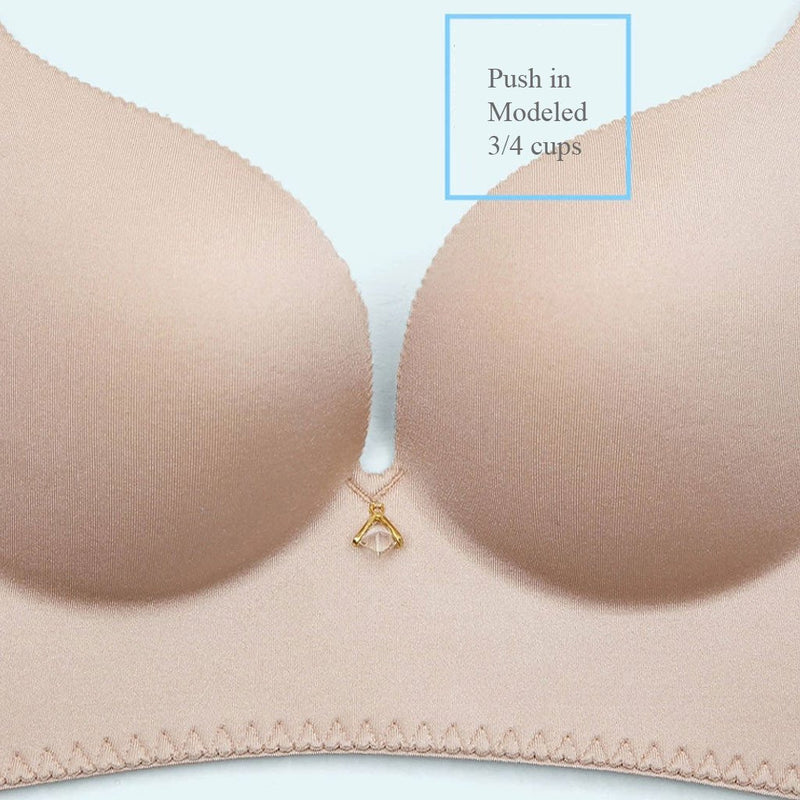 No Underarm Bulge Deep V Smooth Cup Push In Wireless Bra 6