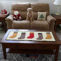 Christmas Stockings table runner with dog