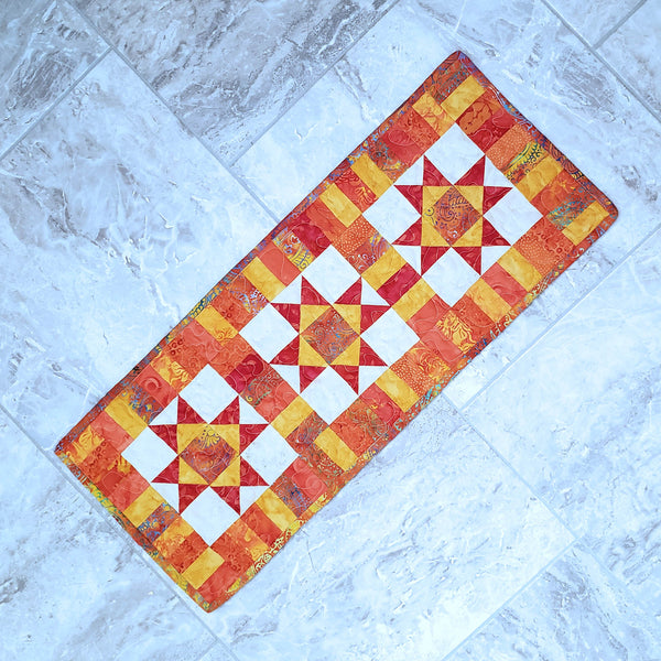 Fiery Orange Ohio Star Table Runner