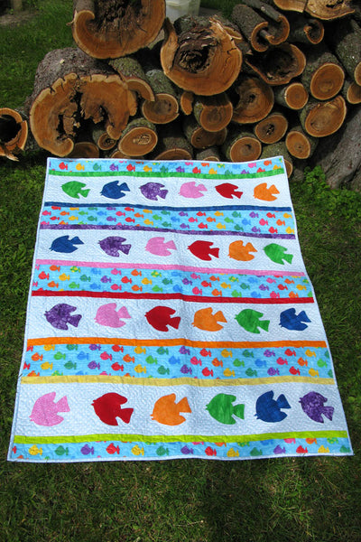 Go Fish baby quilt appliqued quilt pattern