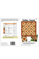 Golden Sunset quilt pattern cover and yardage info
