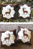 Applique deer on a log cabin block pillow make two and reverse them