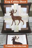 Applique deer on a log cabin block pillow that is 16 x 16 and a mug rug you can also make