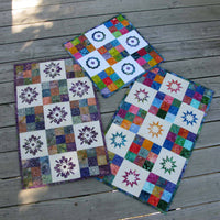 Modern Nine Patch quilt pattern with applique
