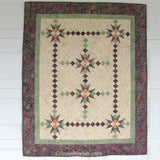 Fiesta is a beautiful quilt pattern that uses the Tri-rec ruler or the template included in the pattern