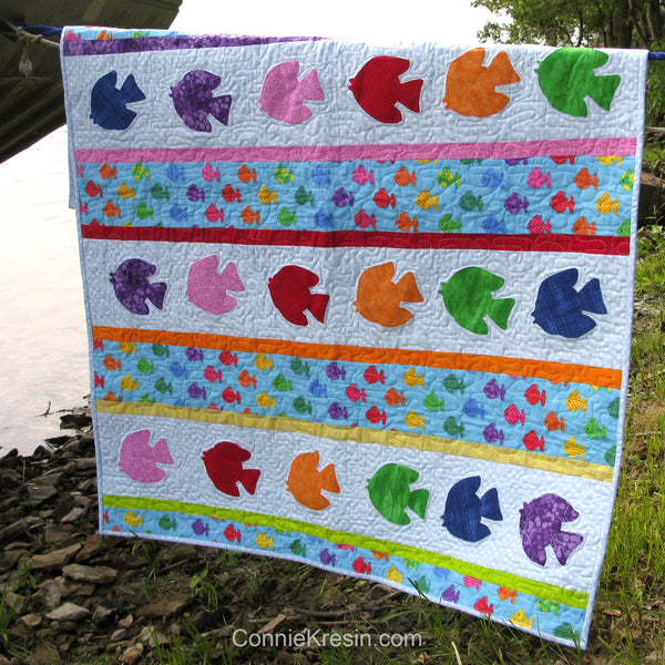 Appliqued Go Fish baby quilt pattern