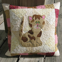 Kitty Kitty appliqued quilt pillow pattern