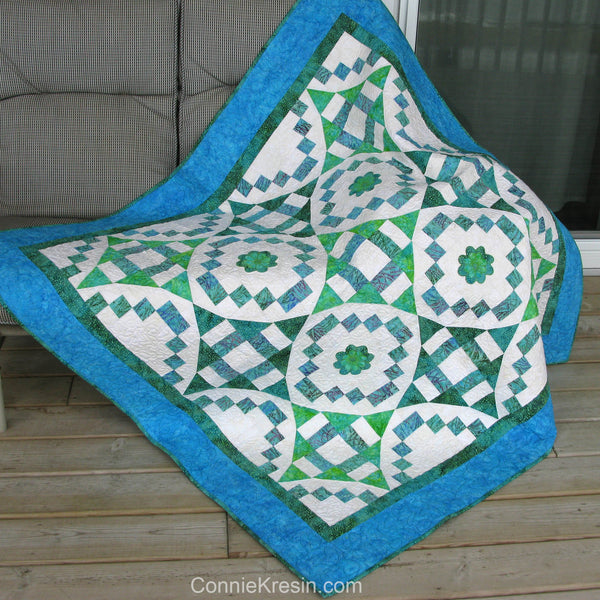 "River Swirls quilt pattern 56"" x 56"""