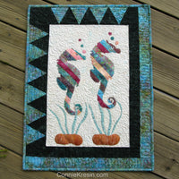 Appliqued Seahorses in a wall hanging pattern