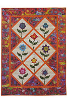 Summer flowers applique quilt with 8 full size flowers
