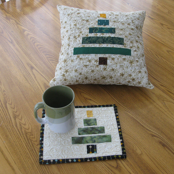 Wonky Christmas Tree mug rug and placemat
