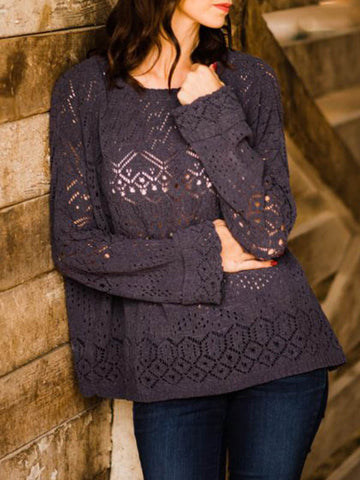 Grey Openwork Sweater