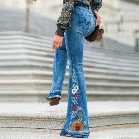 70s Embroidered Bell Bottom Jeans