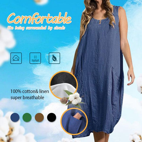 Big-Pocket Breathable&Slimming 100% Cotton Dress