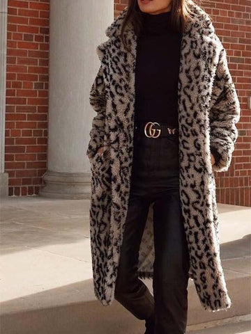 Ladies Long Lapel Leopard Fur Coat