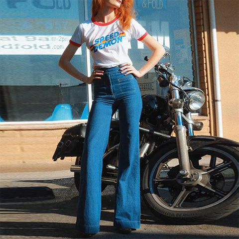 70s Stretchy High Waist Bell Bottom Jeans with Pockets