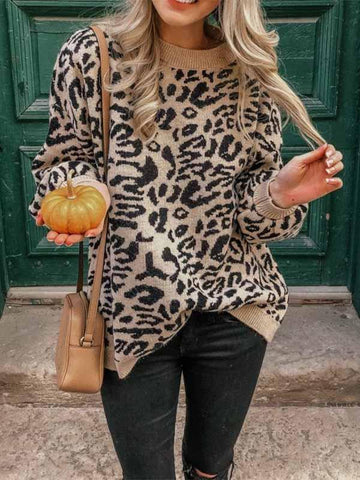Ladies Leopard Loose Crew Neck Sweater