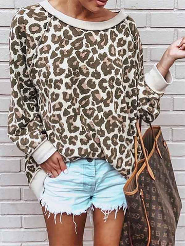 Women's Leopard-print Loose Round Neck Sweatshit