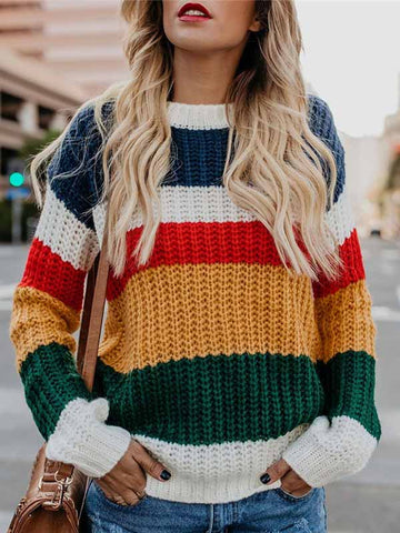 Rainbow Pullover Loose Sweater