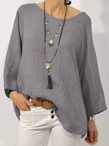 wiccous.com Plus Size Tops Grey / L Plus size solid color cotton linen round neck shirt