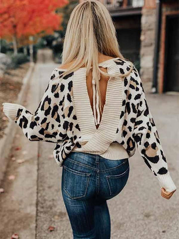 Ladies Leopard Backless Sexy Sweater