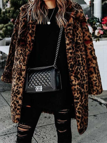 Ladies Leopard Lapels Fur Coat