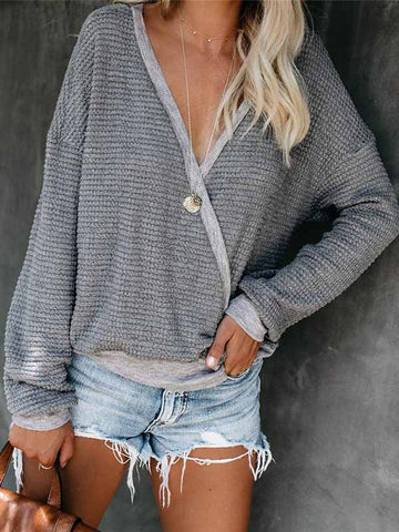 Autumn Winter V-neck Long-Sleeved Sweater