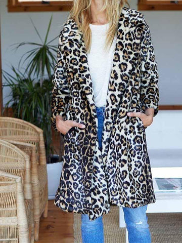 Ladies leopard lapels fur Fashion Coat