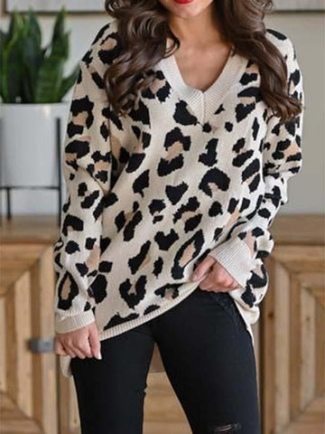 Women's Leopard Print V-neck Sweater