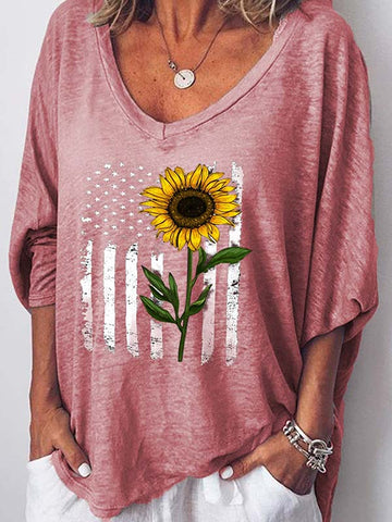 American Flag Sunflower Print T-Shirt