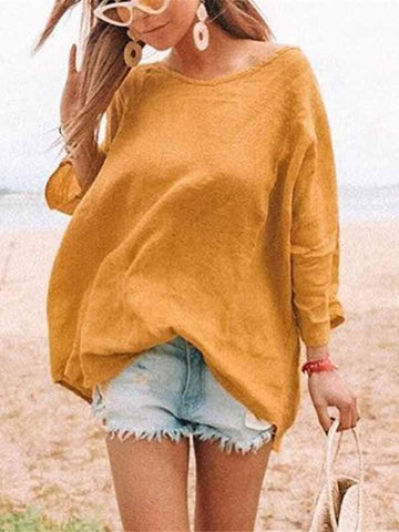 wiccous.com Plus Size Tops Yellow / S Cotton linen solid color T-shirt