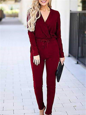 Sexy V-neck Pocket Long Sleeve Jumpsuit