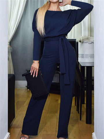 Fashion Crew Neck Tie Pocket Jumpsuit