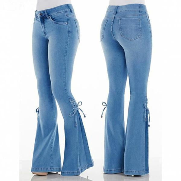70s Hip Hugger Bell Bottoms Stretchy Jeans
