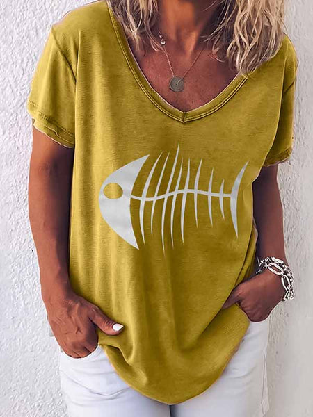 Round Neck Fish Head Print T-Shirt