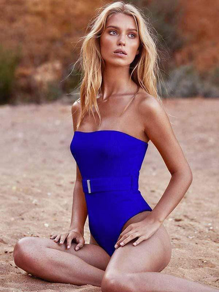 wiccous.com one-piece Blue / S Special Fabric Belt One-Piece Swimsuit