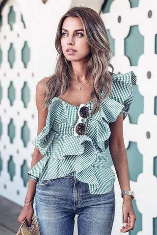 wiccous.com Tops Mint / S One-Shoulder Ruffled Blouse