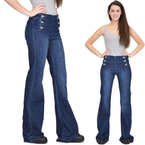70s Stretchy Button Bell Bottom Jeans