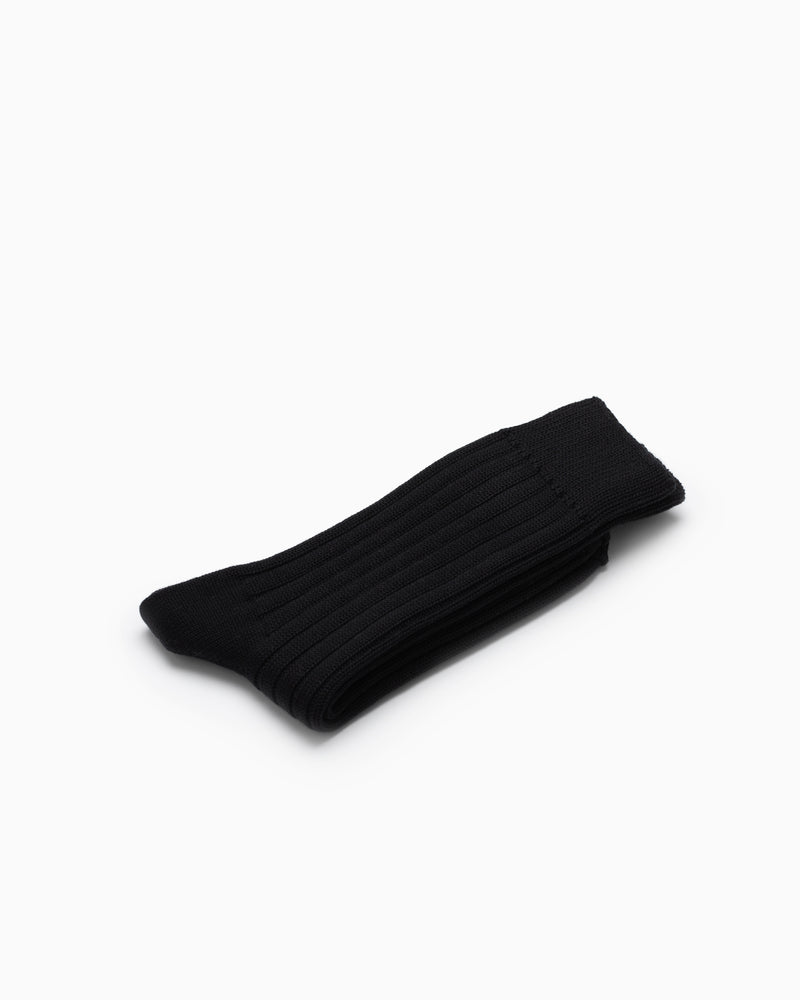 Egyptian Cotton Ribbed Socks - Black