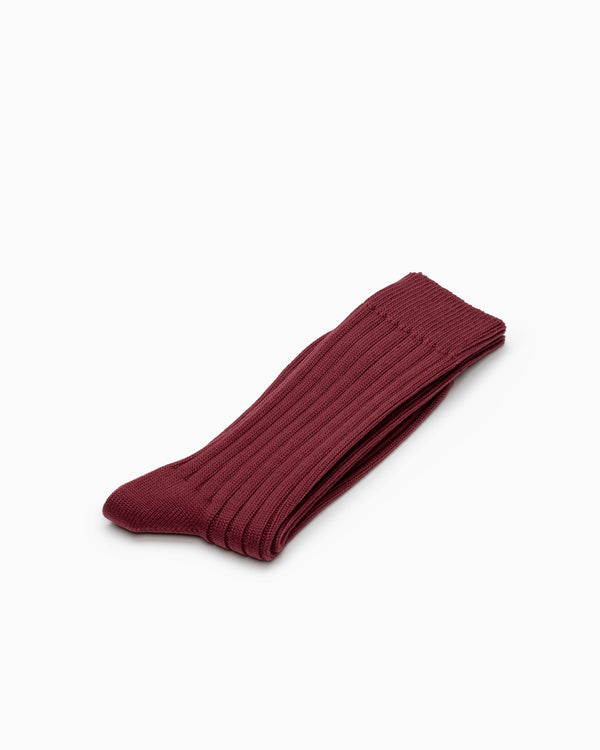 Egyptian Cotton Ribbed Socks - Bordeaux