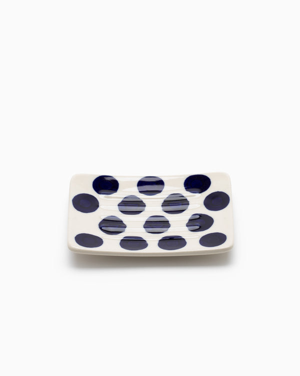 Indigo Dotted Ceramic Soap Dish